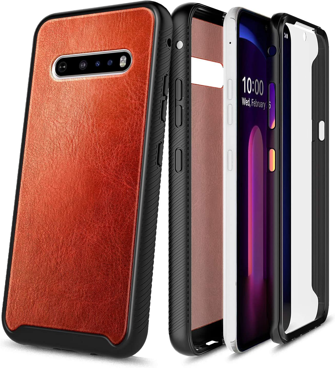 E-Began Phone Case for LG V60 ThinQ, V60 ThinQ 5G (2020 Release), Full-Body Protective Rugged Matte Bumper Cover with Built-in Screen Protector, Premium Cowhide Leather Shockproof Durable Case -Brown