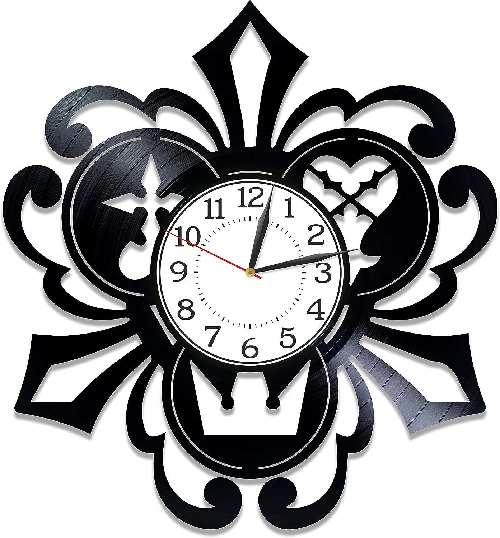 Kovides Kingdom Hearts Vinyl Record Clock Video Game Handmade Clock Kingdom Hearts Birthday Gift Idea for Gamer Video Game Original Home Decor Kingdom Hearts Vinyl Clock 12 Inch for Man
