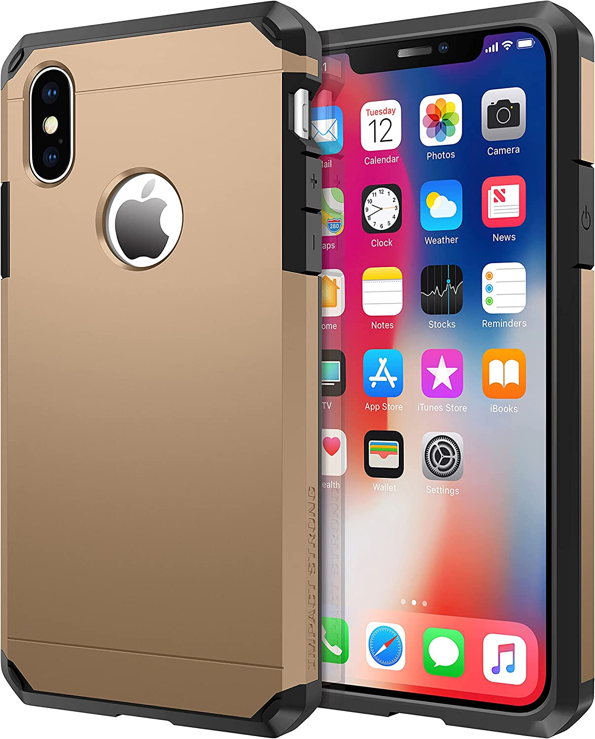 ImpactStrong Compatible with iPhone X Case/iPhone Xs Case, Heavy Duty Dual Layer Protection Cover Heavy Duty Case Designed for iPhone X/Xs 5.8 inch (2018) - Gold