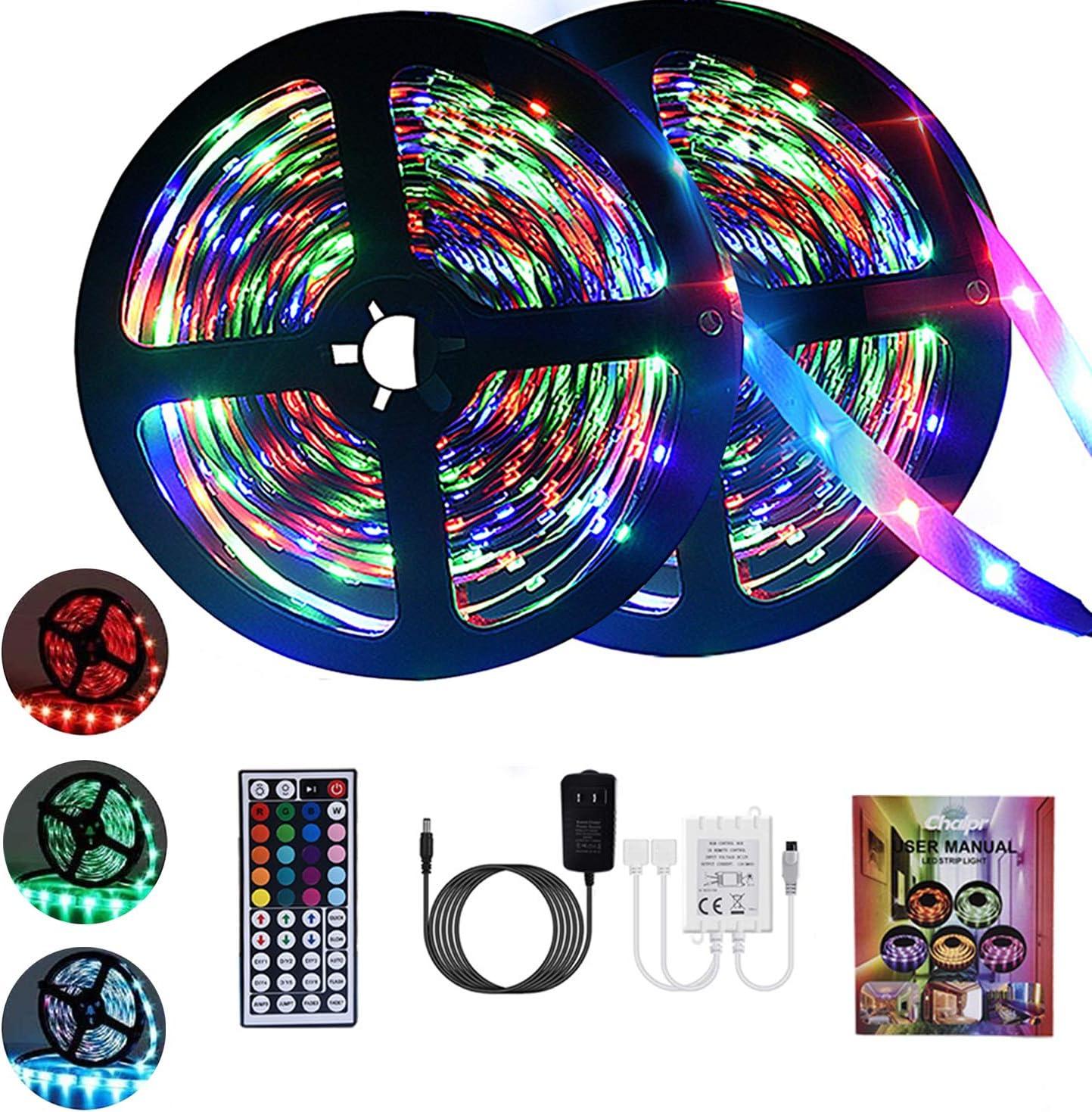 Chalpr LED Strip Lights 32.8ft, RGB LED Light Strip,3528 SMD 600 LED Color Changing Tape Light with 44 Keys Remote LED Lights for Bedroom, Home Decoration, TV Backlight, Kitchen, Bar,Party