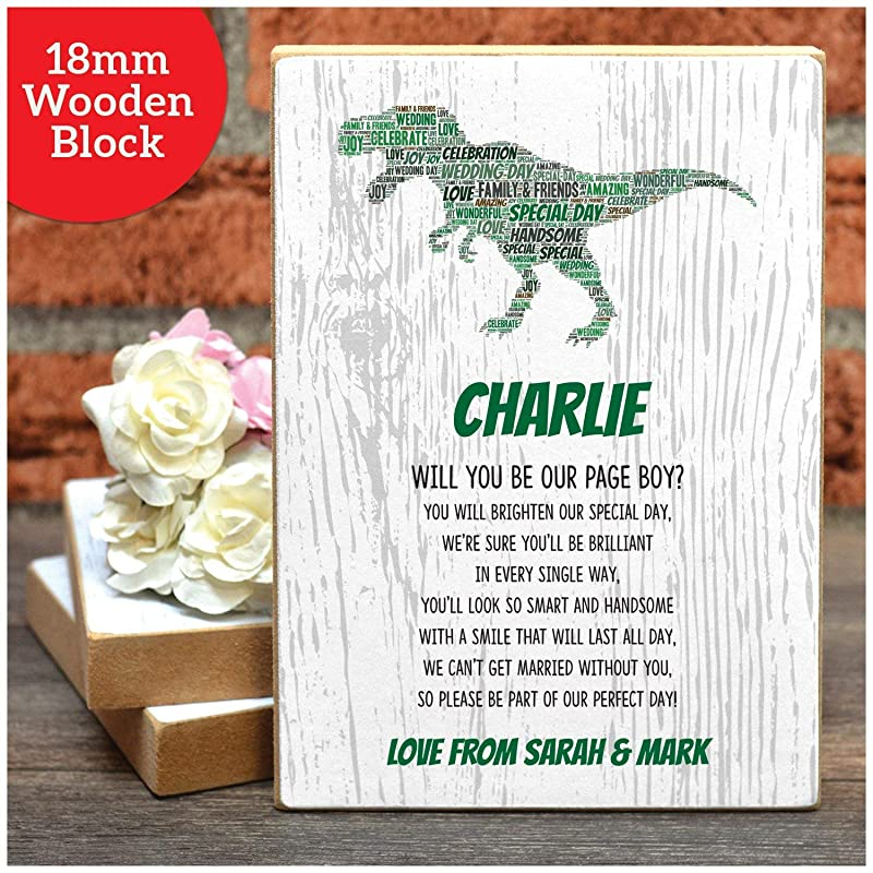 Dinosaur Will You Be Our Page Boy Son A4 Ring Bearer A5 18mm Wooden Blocks A3 Prints and Frames Nephew Poem Gifts Usher? Personalised Boys Will You Be Presents for Wedding Party Favours