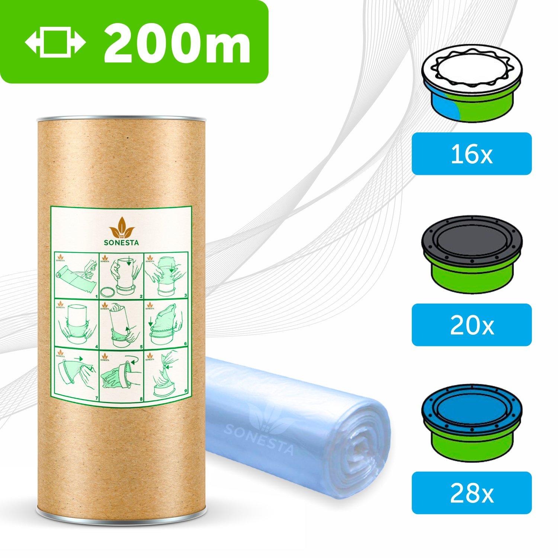 200 M. - ECO Recharge de poubelle à couches Sangenic | Angelcare | Litière Litter Locker II | Recharge équivalente à 16 Recharges Sangenic | Tube en carton pour faciliter la Recharge | 100% Compatible SONESTA