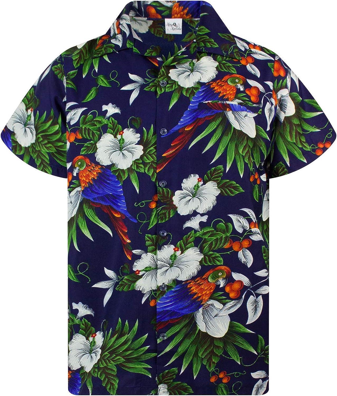 Camisa Hawaiana para Hombre Funky Casual Button Down Very Loud Manga Corta Unisex Cherry Parrot
