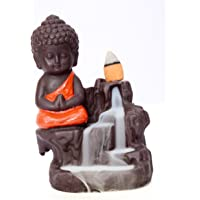 Decora Craft Poly Resin Buddha Smoke Fountain with 10 Smoke Back Flow Scented Cone Incenses (Red)