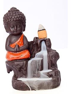 Buy eCraftIndia Meditating Monk Buddha Smoke Backflow Cone