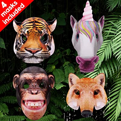 Bee Smart Animal Mask Includes Tiger, Unicorn, Fox and Chimpanzee, Great for Costume, Fancy Dress Mask, Birthday Party, Halloween Masks and Book Week, (3D Masks - 4 pcs): Pet Supplies