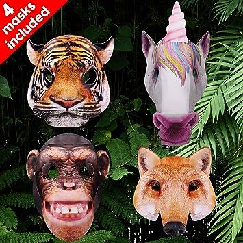 Tiger Mask Animal Fancy Dress Accessory Face Childrens Jungle Kids Childs