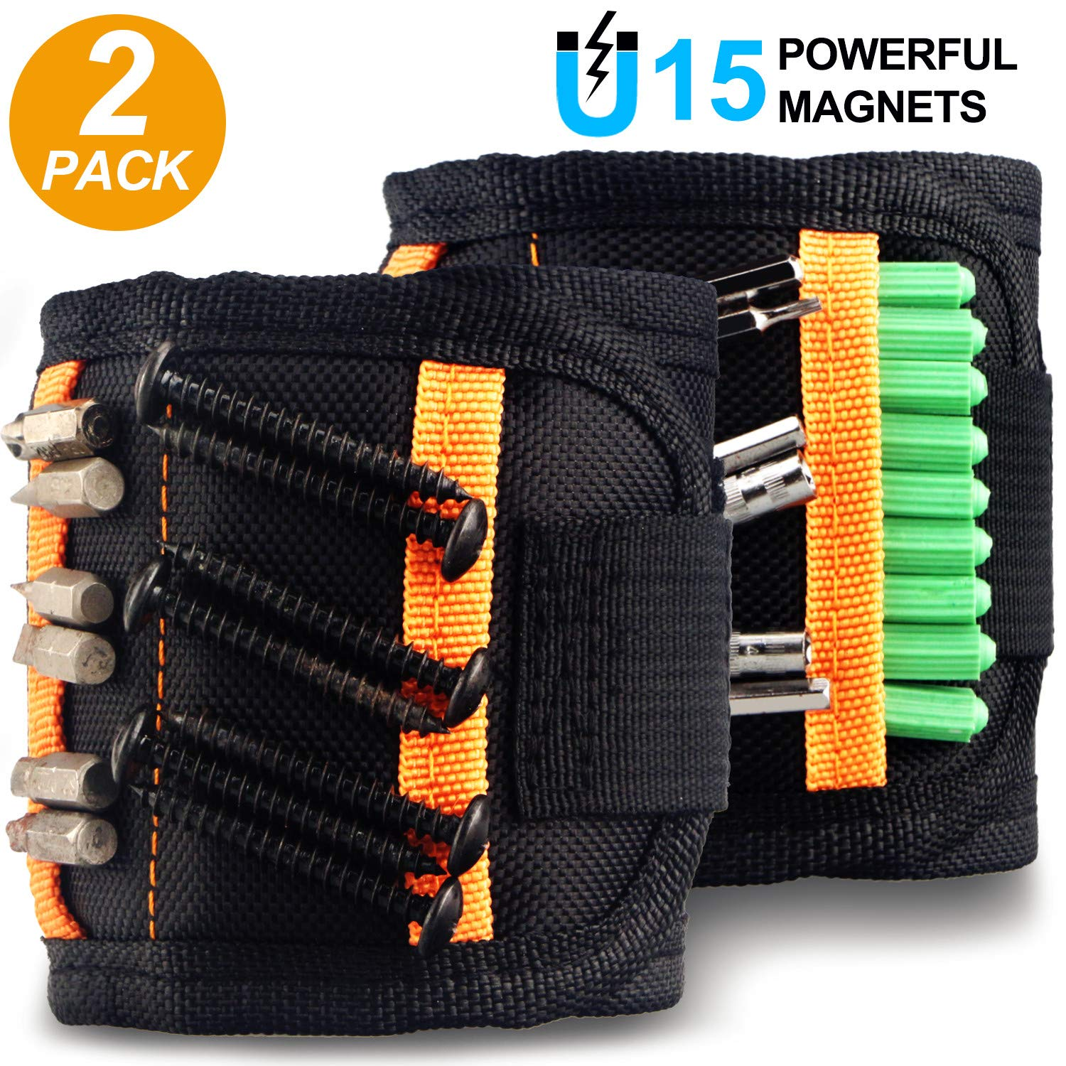 2 Pack Magnetic Wristband, Tools with N38 Grade Strong Magnets for Holding Screws, Nails Drill Bits, Tools for Men, Father/Dad, Husband, DIY Handyman, Gifts for Men, Unique Mens Gifts by Soft digits