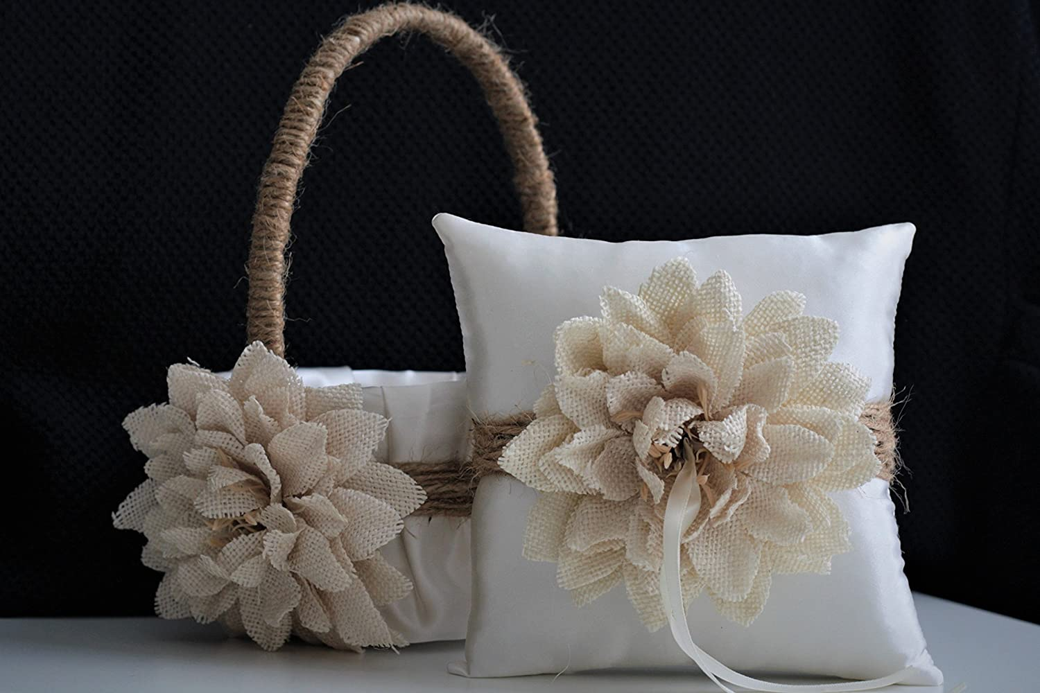 Rustic Ivory Beige Burlap Wedding Flower Girl Basket and Ring Bearer Pillow Set