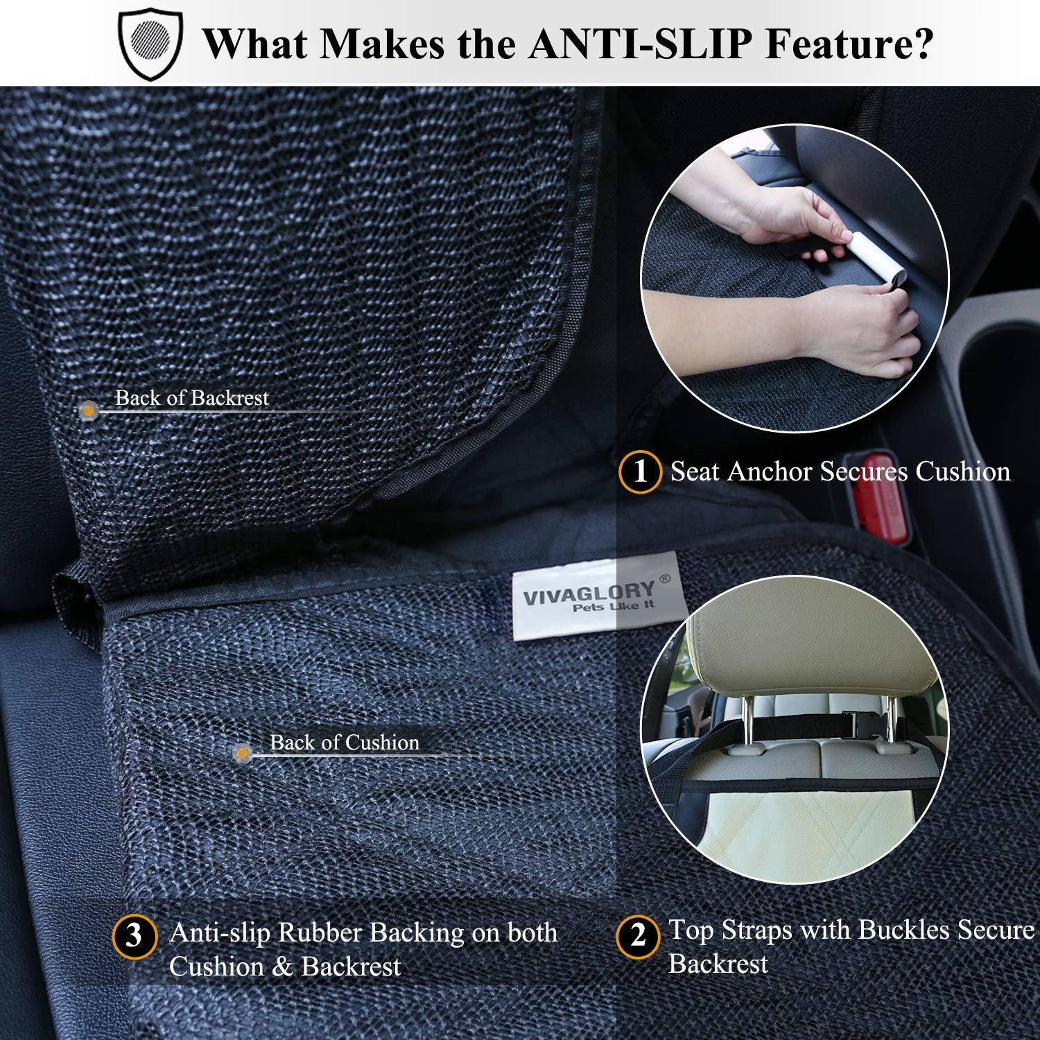 Vivaglory Front Dog Seat Cover Quilted 600 Denier Oxford with Anti-slip Backing for Most Cars SUVs /& MPVs Black No-skirt Design Protectors for Bucket Seats