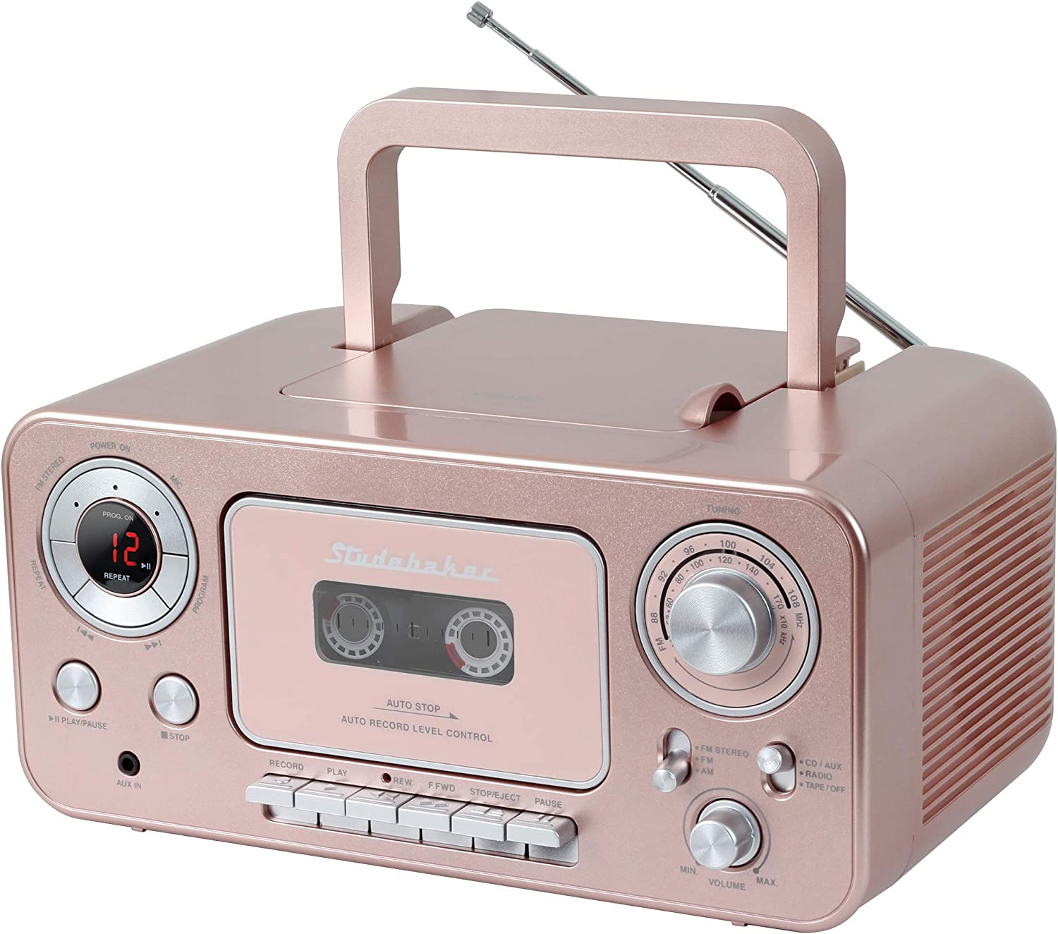 Studebaker SB2135RG Portable Stereo CD Player with AM/FM Radio and Cassette Player/Recorder in Rose Gold