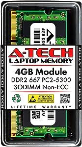 A-Tech 4GB DDR2 667MHz SODIMM PC2-5300 1.8V CL5 200-Pin Non-ECC Unbuffered Laptop RAM Memory Upgrade Module