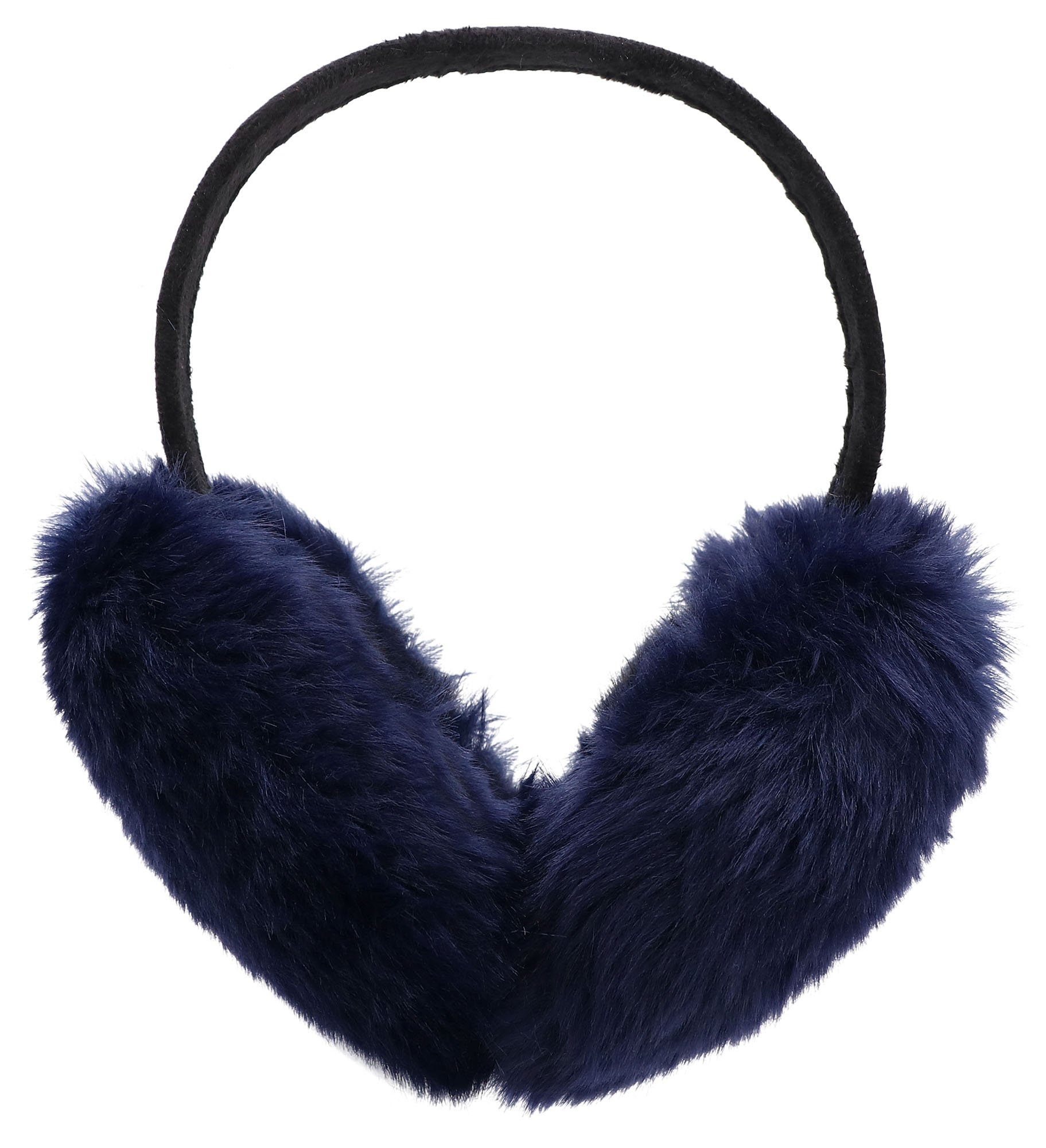 Simplicity Men Women's Winter Foldable Plush Furry Ear Muffs, Lined Trim, Navy