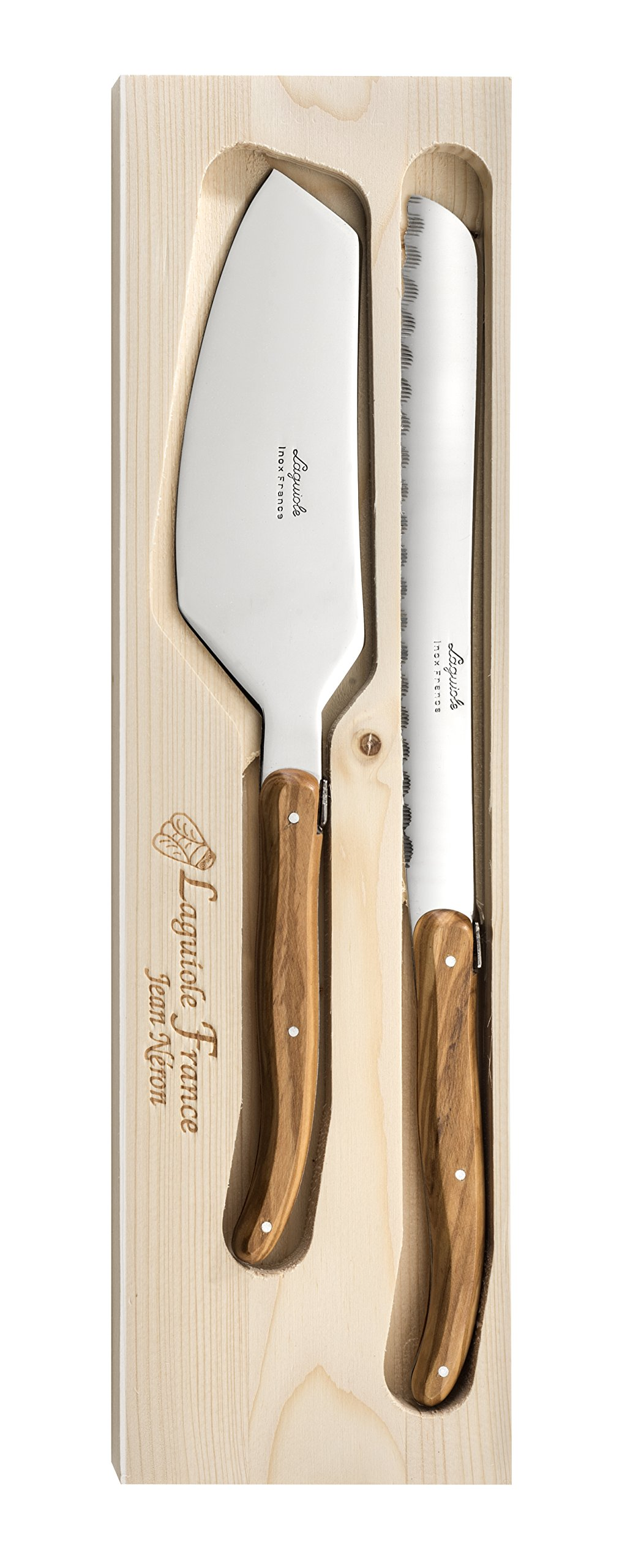 Neron Coutellerie 2 Piece Laguiole Cake Knife Set With Olive Wood Handle In Wooden Box, Silver