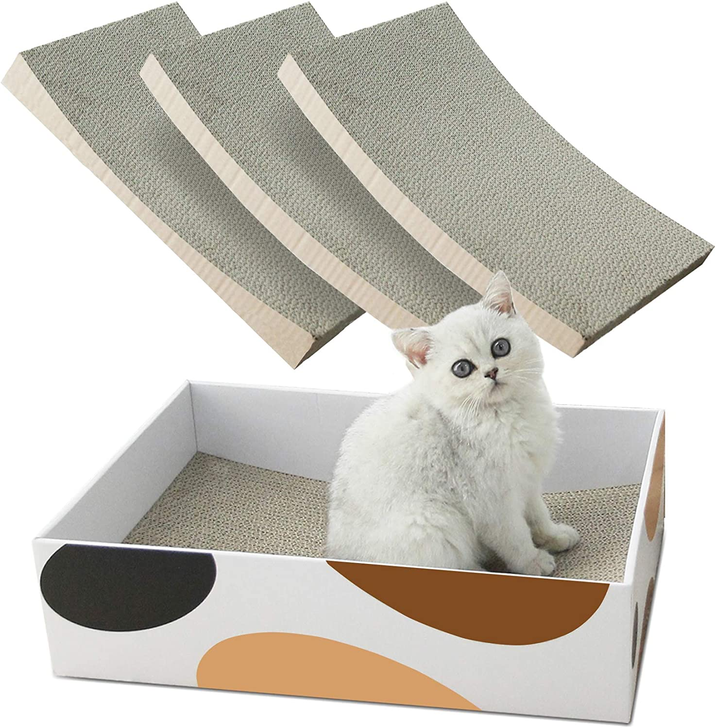 MSBC Cat Scratching Pad, Concave Cat Scratcher Cardboard, Durable 3 in 1 Corrugated Scratcher, Reversible Scratcher with Box Refill, Scratcher Lounge Bed for Furniture Protection, Cat Training Toy