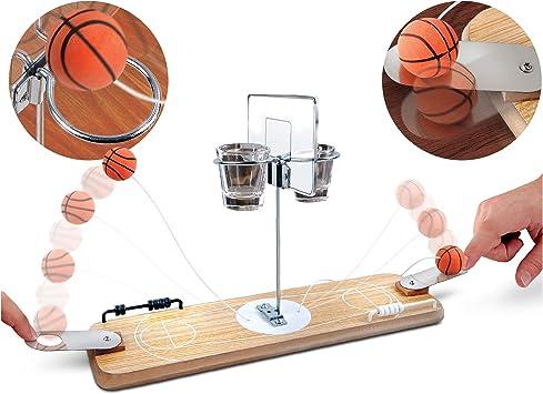 Refinery juego de baloncesto de madera para 2 jugadores, aros de mesa de inspiración vintage, 2