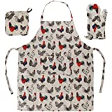 Home-X 3 Piece Rooster Kitchen Linen Set. Apron, Oven Glove and Mitt
