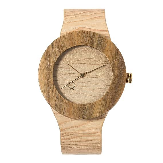 seQoya - Amazonico | Reloj de Madera con Esfera de Madera y Correa de Piel ecológica simulando Madera Estampada | Reloj Hombre y Mujer | Diseño único y ...