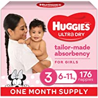 Ultra Dry Nappies Girl Size 3 (6-11kg) 1 Month Supply 176 Count