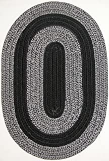 product image for Constitution Rugs Veranda Patio 9' x 12' Oval Braided Rug in Black & Silver Tweed