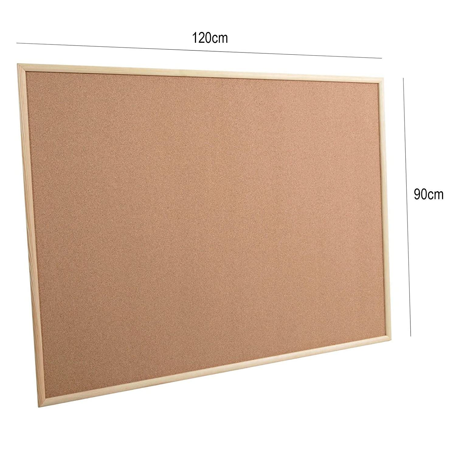 1200x900mm Large Rounded Cork Notice Pin Message Board Memo Office School Wood Frame Pinboard