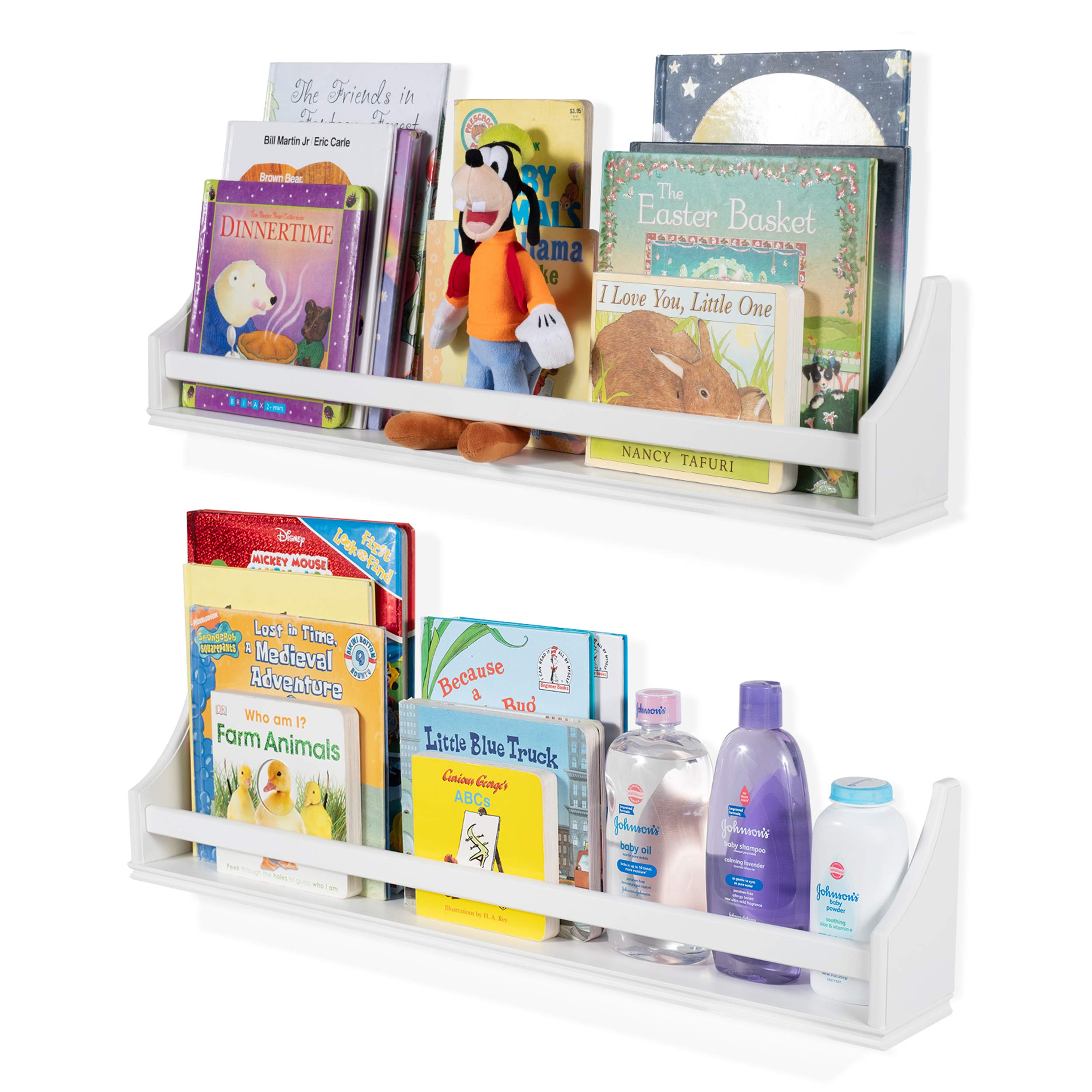 2 Set Shelf Long Crown Molding Floating Bookshelves for Baby and Kids Nursery Room Book Organizer Wall Shelves Storage Ledge Display Holder for Toys CDs Baby Monitor Frames - Ships Fully Assembled by brightmaison