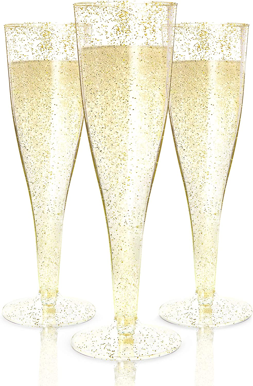 24 Plastic Champagne Flutes Disposable | Gold Glitter Plastic Champagne Glasses for Parties | Glitter Clear Plastic Cups | Plastic Toasting Glasses | Mimosa | Wedding and Shower Party Supplies