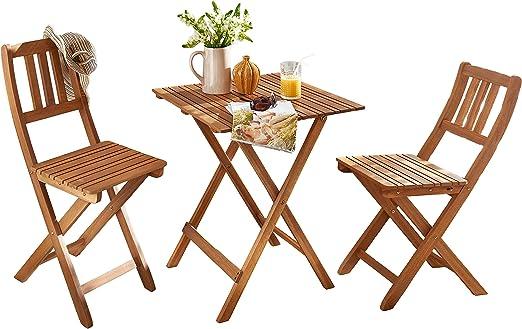 SAM® Conjunto para balcón Resistente, 3 Piezas, 1 Mesa + 2 sillas, Mueble de Madera de Acacia Plegable aceitado y Macizo. Tirantes Verticales en el Respaldo.: Amazon.es: Jardín