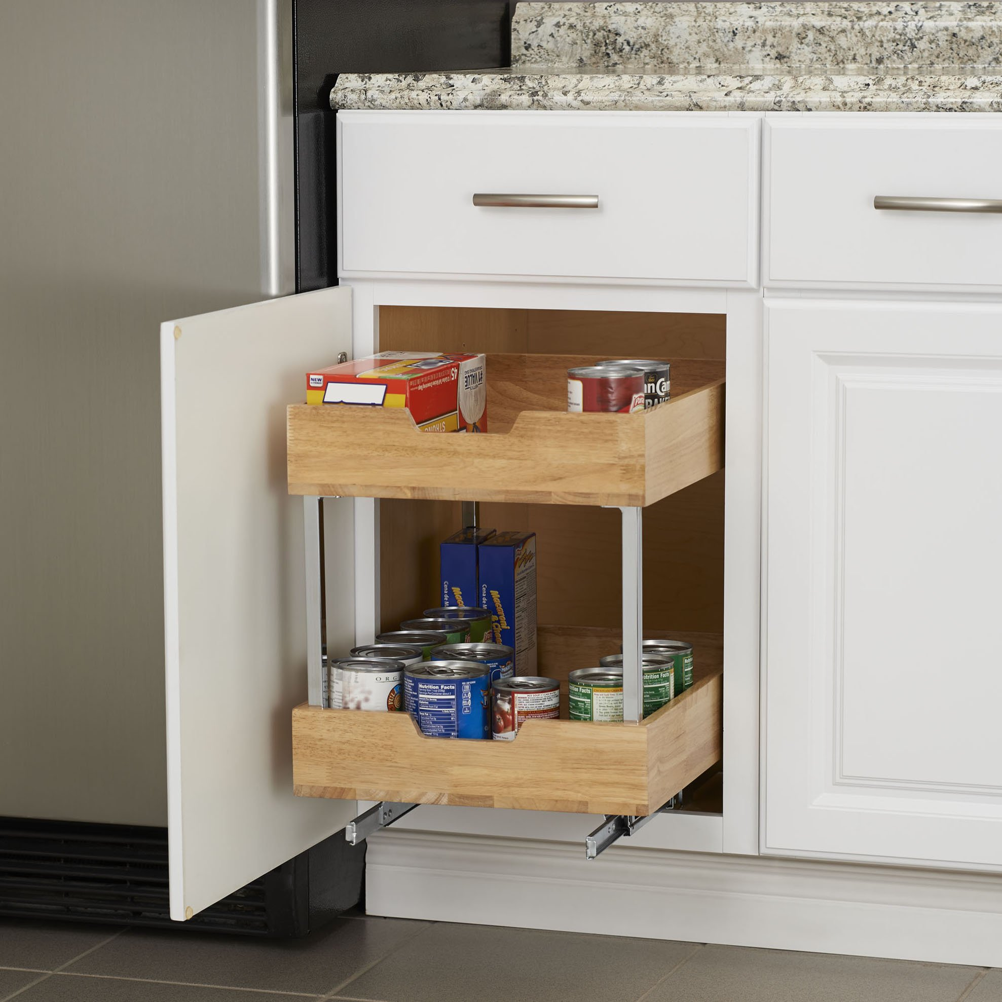 Household Essentials 24521-1 Glidez 2-Tier Sliding Organizer - Pull Out Cabinet Shelf - Wood - 14.5 Inches Wide by Household Essentials (Image #6)