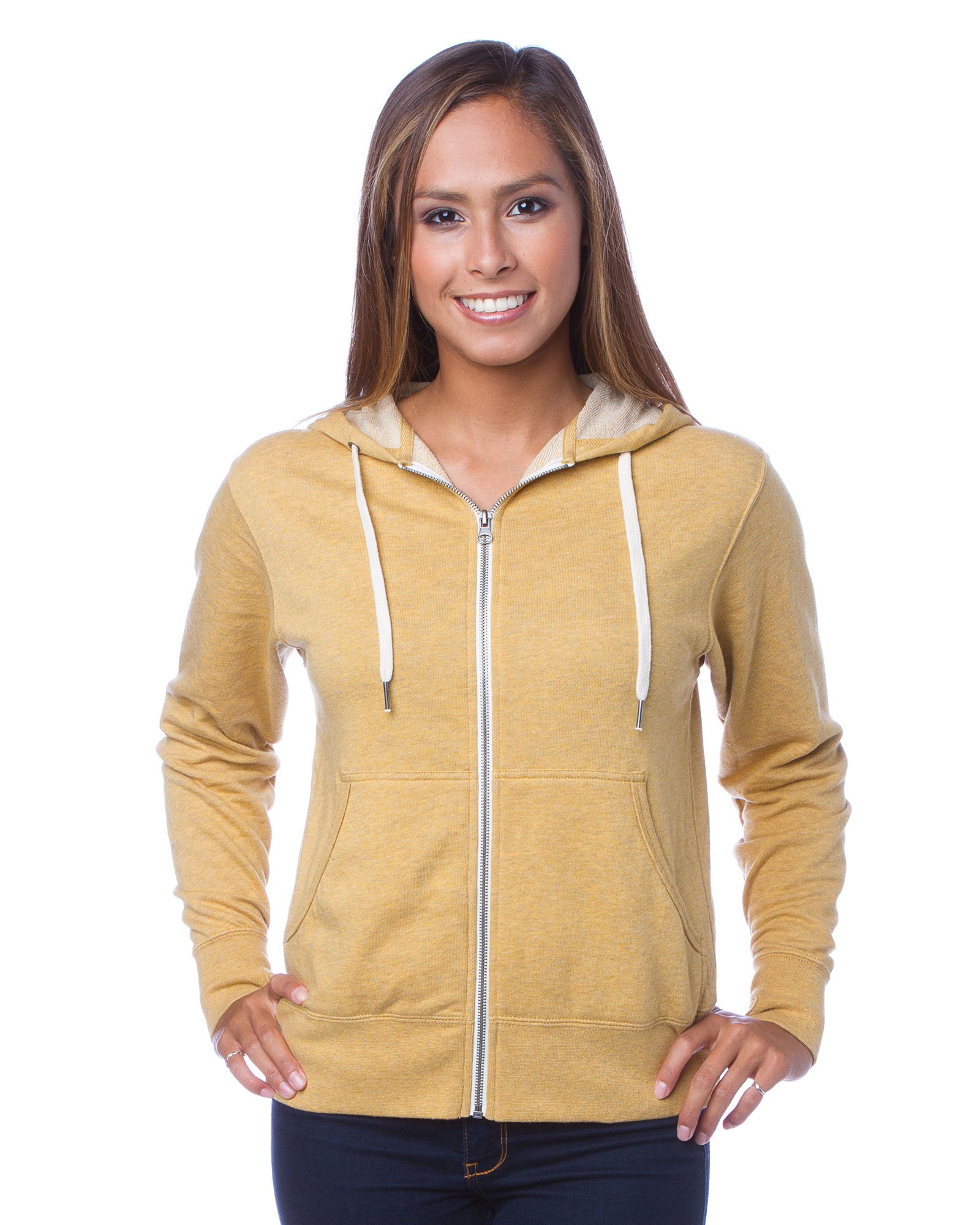Global Blank Slim Fit French Terry Lightweight Zip up Hoodie for Men and Women XL Gold Yellow