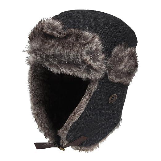 f9011437c2b Aviator Cap Earflap Bomber Winter Hat Faux Fur Wool Blend Hat (Grey Melange)