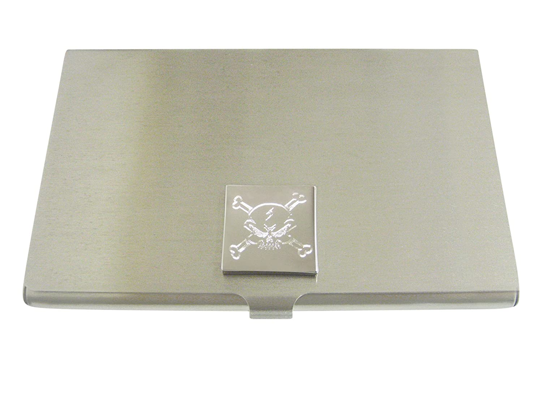 Silver Toned Etched Angry Skull and Crossbonesビジネスカードホルダー   B01LWV4KSM