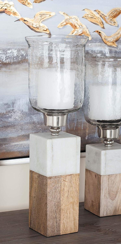 Marble Deco 79 42228 Wood Glass Cuboid Hurricane Lamp 18 x 6 Clear//Aluminum//White//Lightbrown Glass Cuboid Hurricane Lamp 18 x 6 Clear//Aluminum//White//Lightbrown