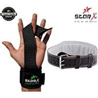 StarX Fitness Combo of 1 Pair Wrist Support with Weight Lifting Gym Belt (Black, Large)