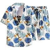 JUNGE 2021 Fashion Men's Hawaiian Shirt Shorts Set, Beach Shorts And Casual Printed Short Sleeve Shirt Top 2 Piece Suit