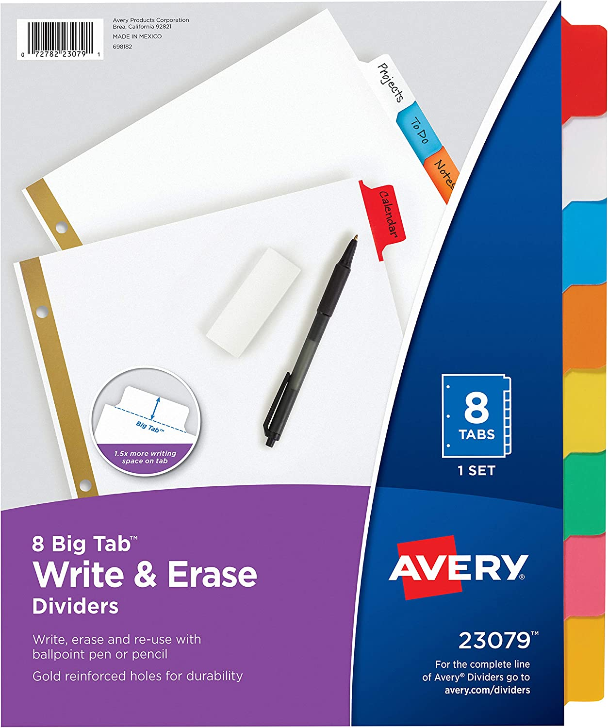 Avery 8-Tab Binder Dividers, Write & Erase Multicolor Big Tabs, 6 Sets, School Binder Organizers (23079) - 73079