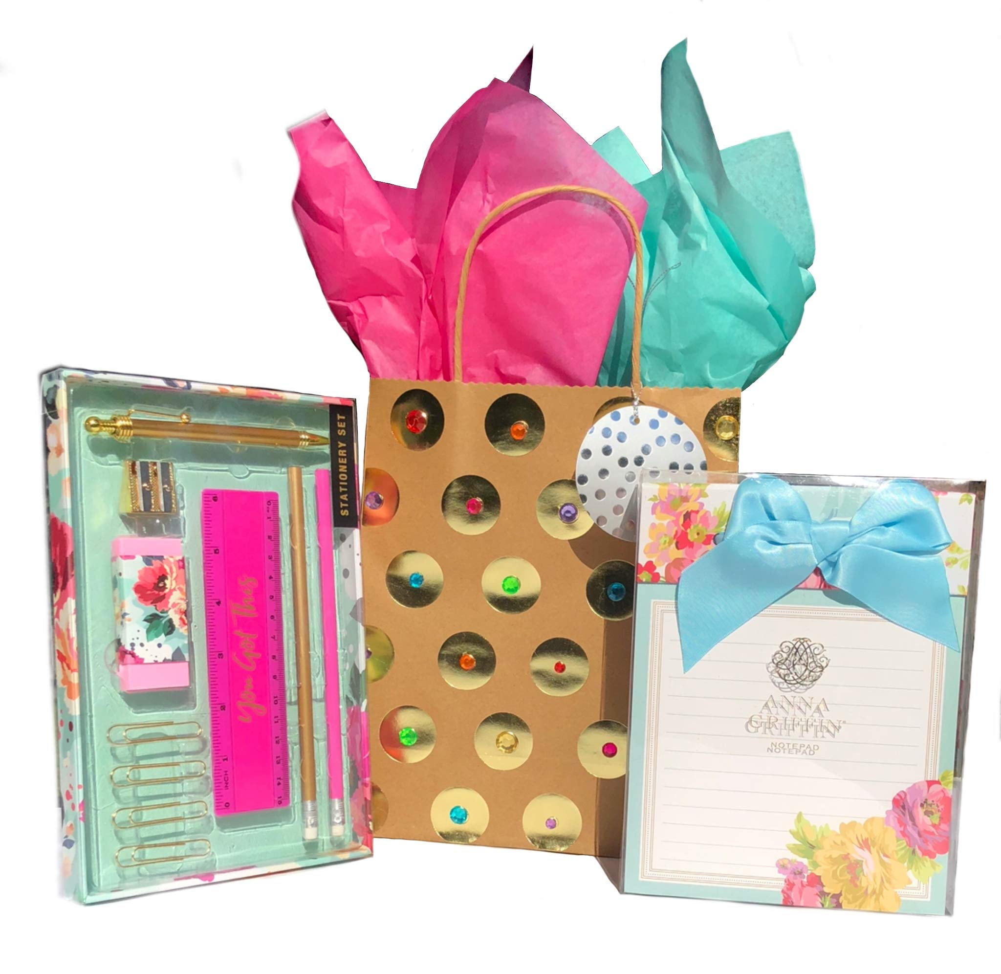 Anna Griffin Note Pad Rose Floral HO654 + You Go This Stationary Set + Gift Bag
