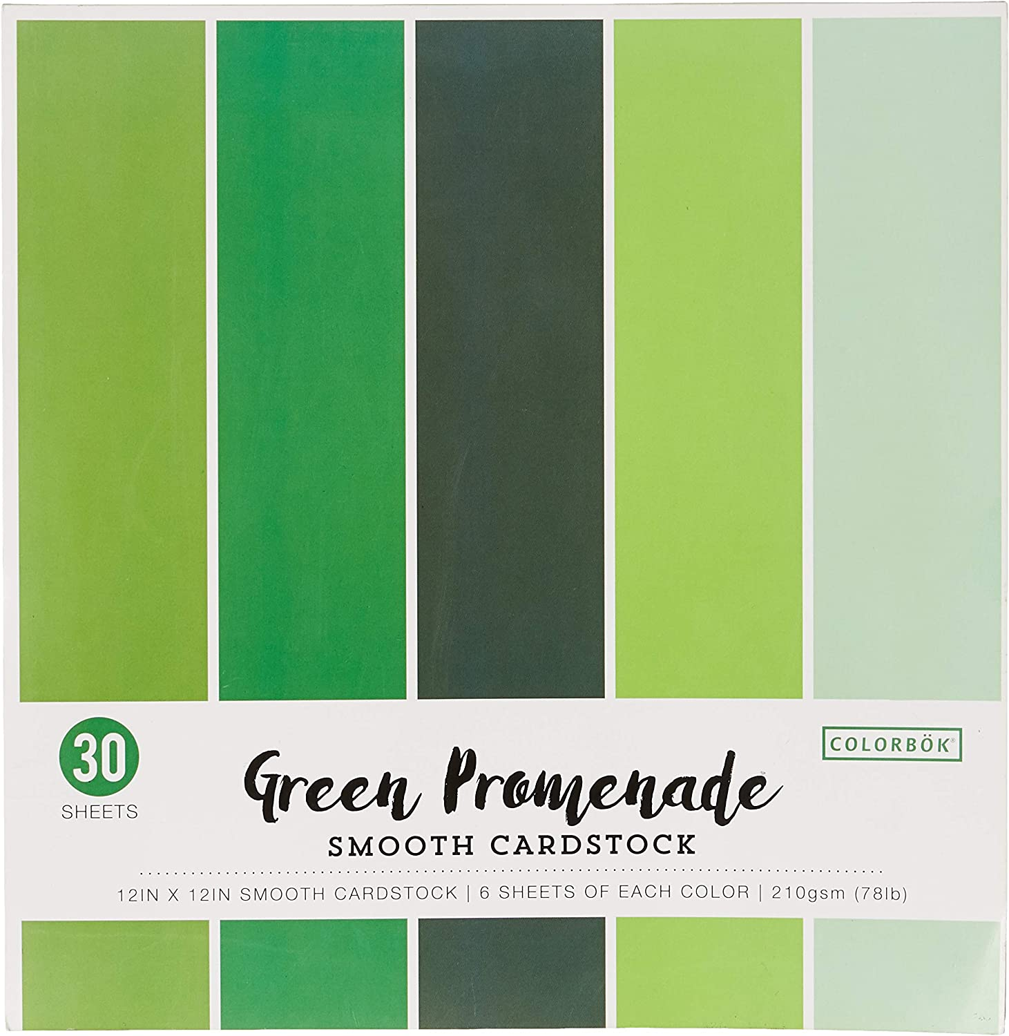 "ColorBok 73477B Smooth Cardstock Paper Pad Green Promenade, 12"" x 12"""