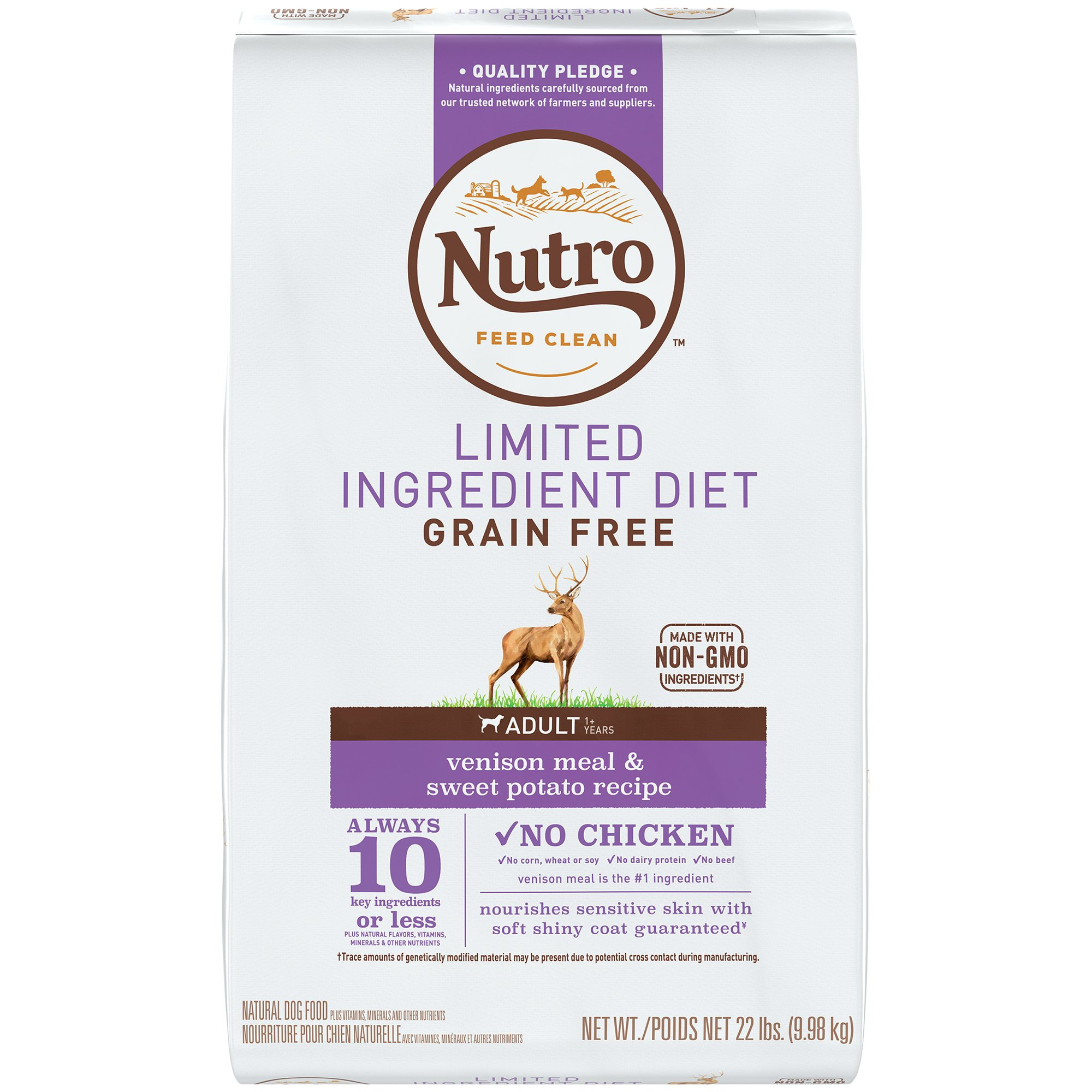 NUTRO Limited Ingredient Diet Adult Venison Meal & Sweet Potato Recipe Grain Free Dog Food (1) 22-lb. , 10 Key Ingredients or Less Plus Natural Flavors, Vitamins, Minerals and Other Nutrients