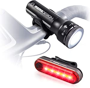 MOMODESIGN Bike Light KIT 300 USB Rechargeable, Bicycle Cycling Headlight & Rear Light Set for Night Visibility, Weather Resistant, Designed for COMMUTERS
