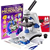 AmScope AWARDED 2016 BEST STUDENT MICROSCOPE 40X-1000X Dual Light Optical Glass Lens All-Metal Framework Student Microscope + Microscope Prepared and Blank Slides