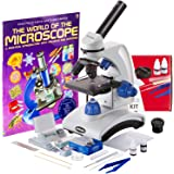 AmScope 40X-1000X Beginners Microscope Kit for Kids & Students w/Complete Science Accessory Kit + World of The Microscope Boo