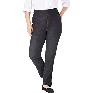94bb98a088e Woman Within Women's Plus Size Smooth Waist Skinny Jean - Black Denim, ...