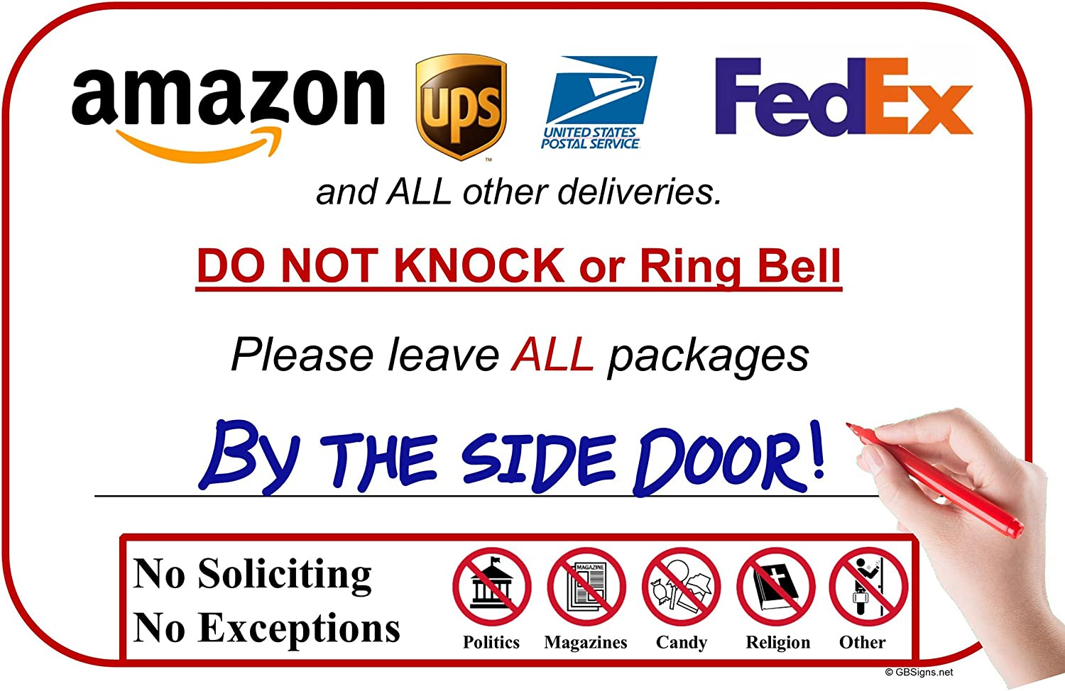 Amazon.com: Leave Package Sign - Cartel con texto en inglés ...