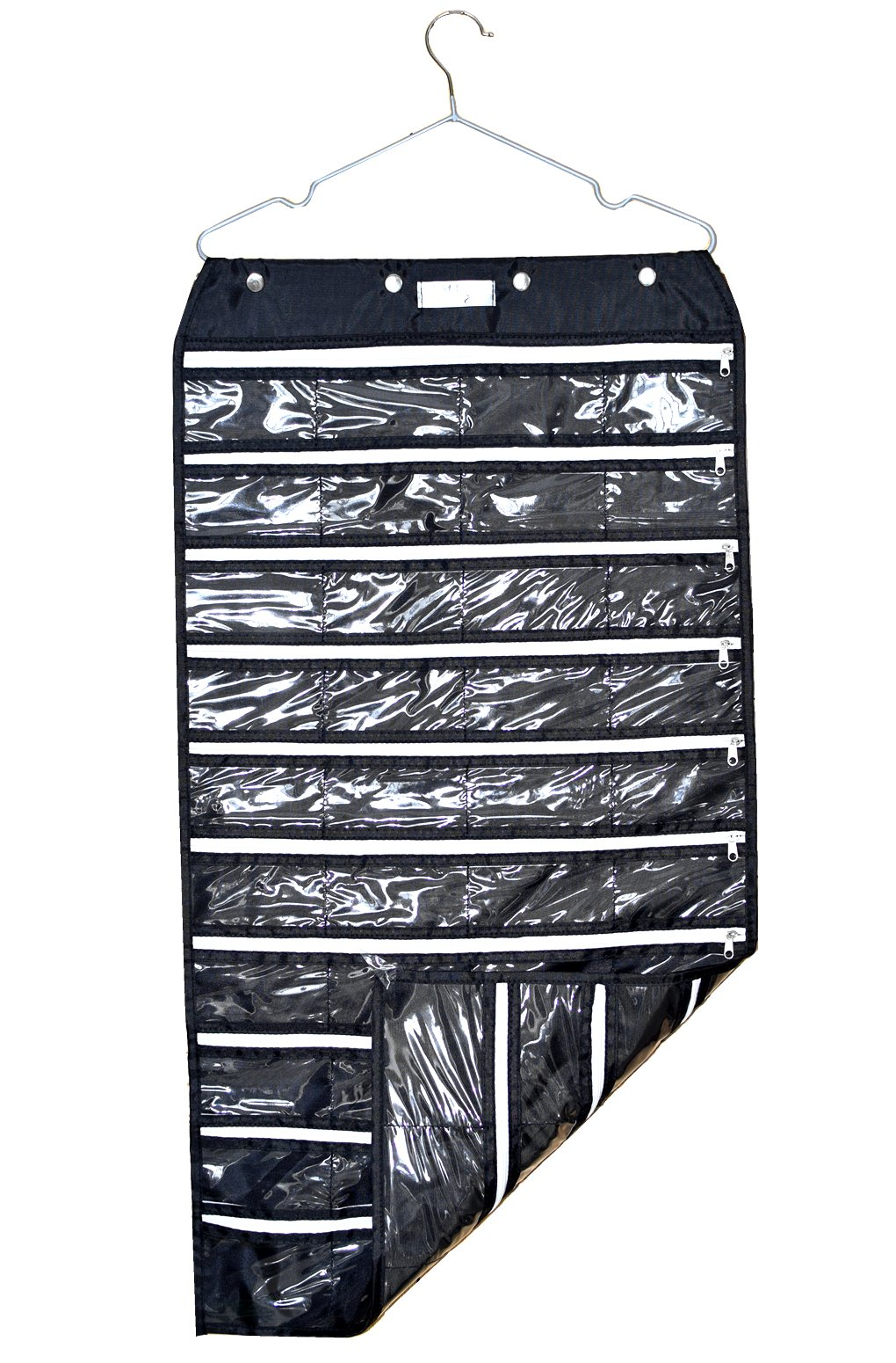 BLACK Wall Hanging Jewelry Organizer Holder 80Pockets Double Sided