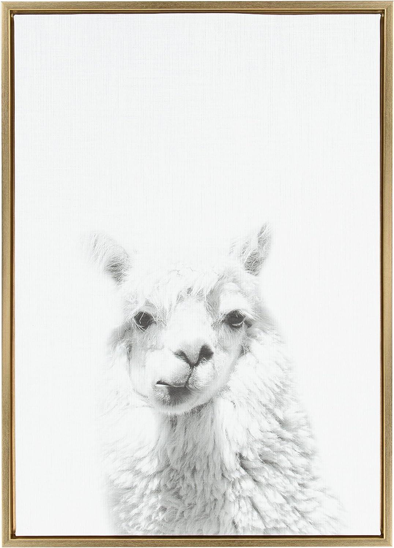 Amazon Com Kate And Laurel Sylvie Alpaca Framed Canvas By Simon Te Tai 23x33 Gold Home Kitchen