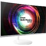 Samsung C27H711 Monitor Curvo 27'' Quantum Dot WQHD, Cornice Ultrasottile, 2560 x 1440, 4 ms, FreeSync, Mini-DisplayPort, HDMI, Bianco