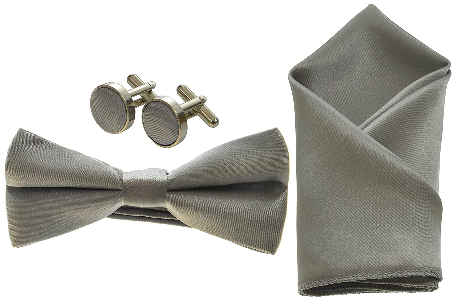 Silver Boys Bow Tie, Cufflinks and Pocket Square Handkerchief Set