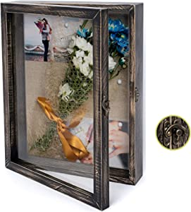 NIKOC Rustic Black Shadow Box Display Case 11 X 14 Inch Wood Shadow Box Picture Frame with Linen Back Memorabilia Medals, Flowers, Magazine, Graduation, Wedding, Baby, Memory Box for Keepsakes