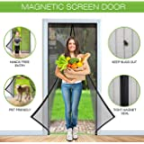 SHINE HAI Reinforced Magnetic Screen Door with Heavy Duty Mesh Curtain Fits Door Up to 34 x 82-inch Max, Black